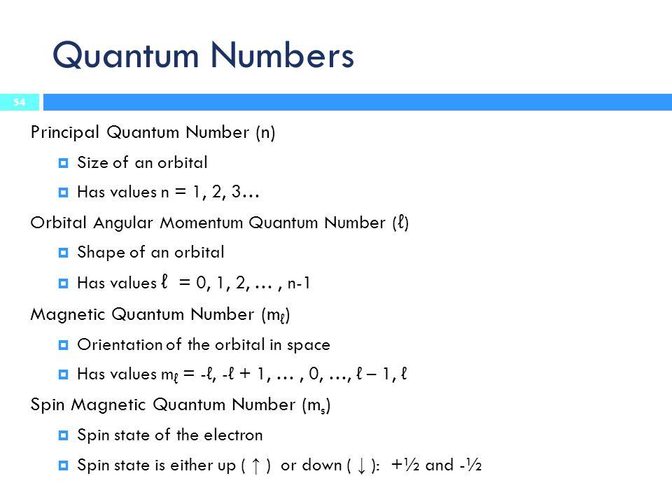 Quantum Numbers Principal Quantum Number (n)