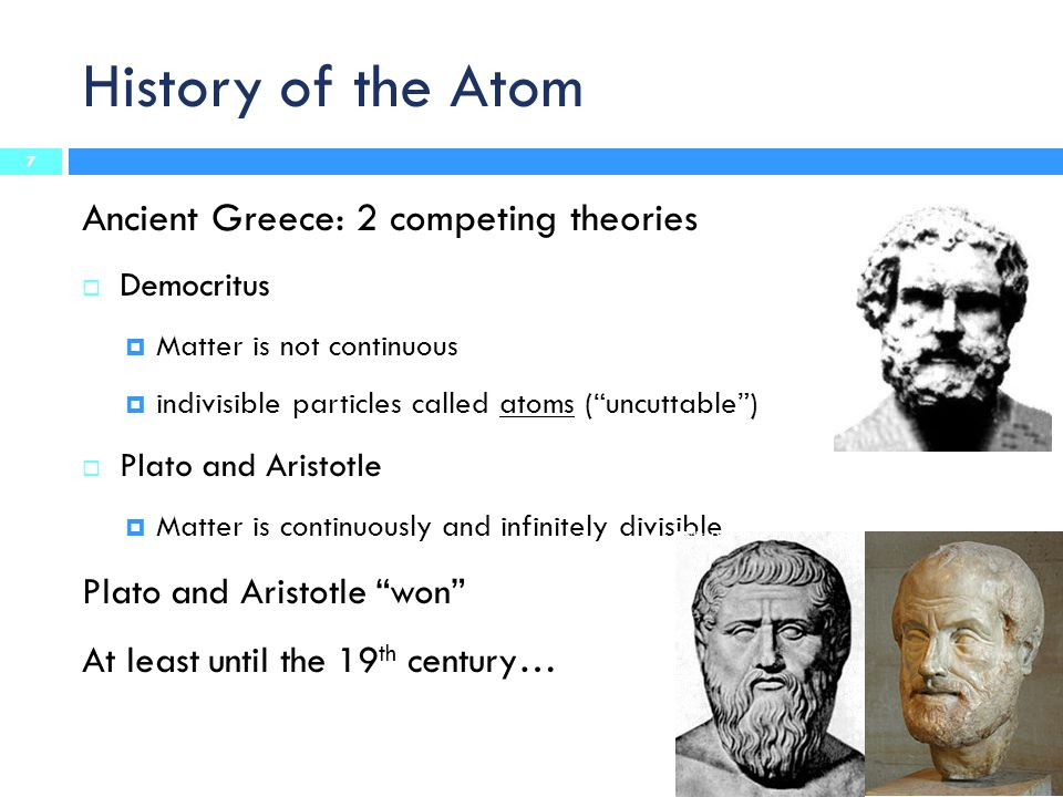 History of the Atom Ancient Greece: 2 competing theories
