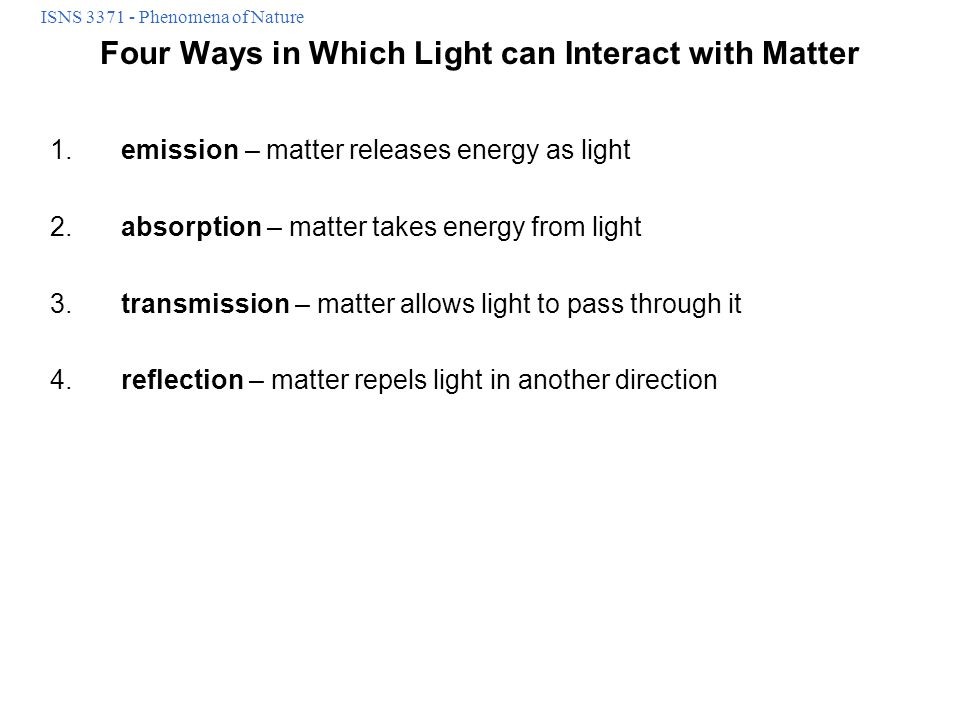 Four Ways in Which Light can Interact with Matter