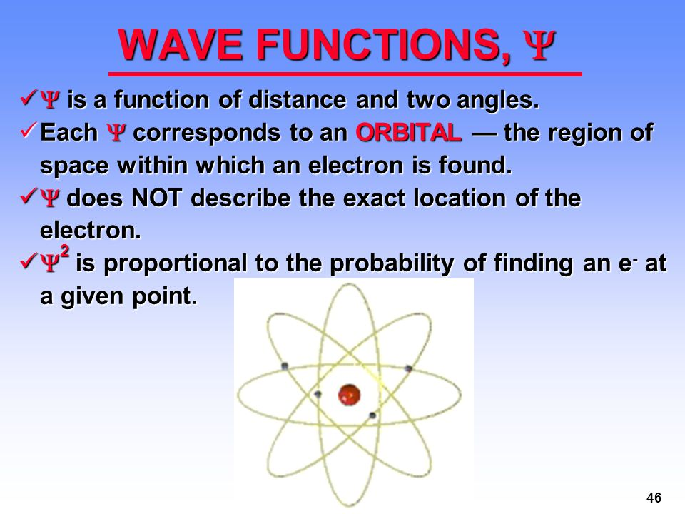 WAVE FUNCTIONS,  is a function of distance and two angles.