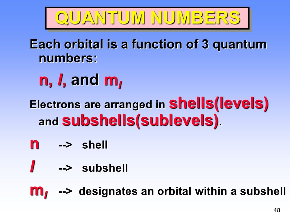 QUANTUM NUMBERS n --> shell l --> subshell