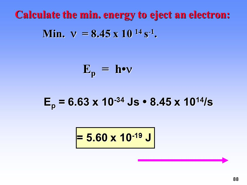 Ep = h• Calculate the min. energy to eject an electron: