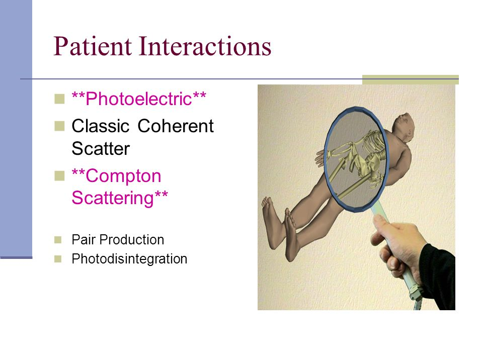 Patient Interactions **Photoelectric** Classic Coherent Scatter