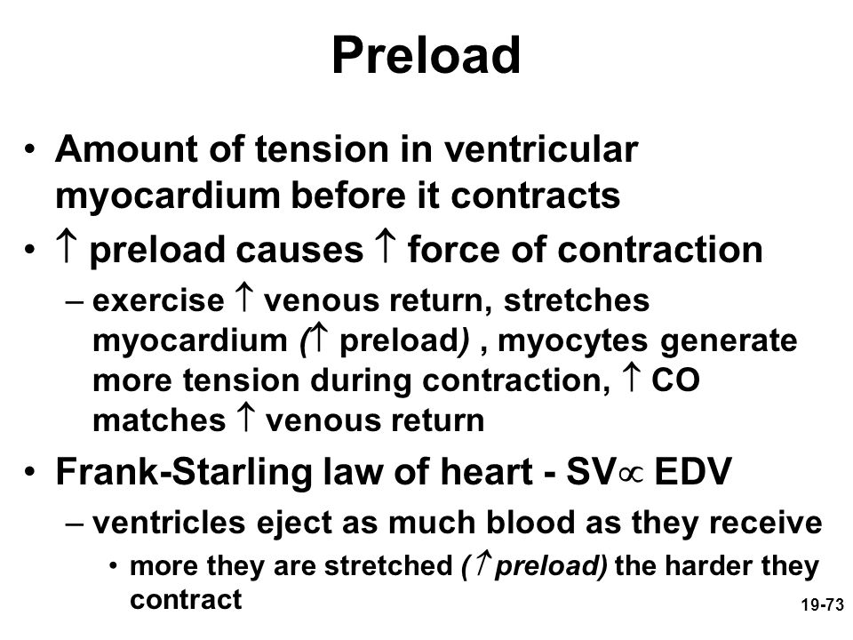 Preload Amount of tension in ventricular myocardium before it contracts.  preload causes  force of contraction.