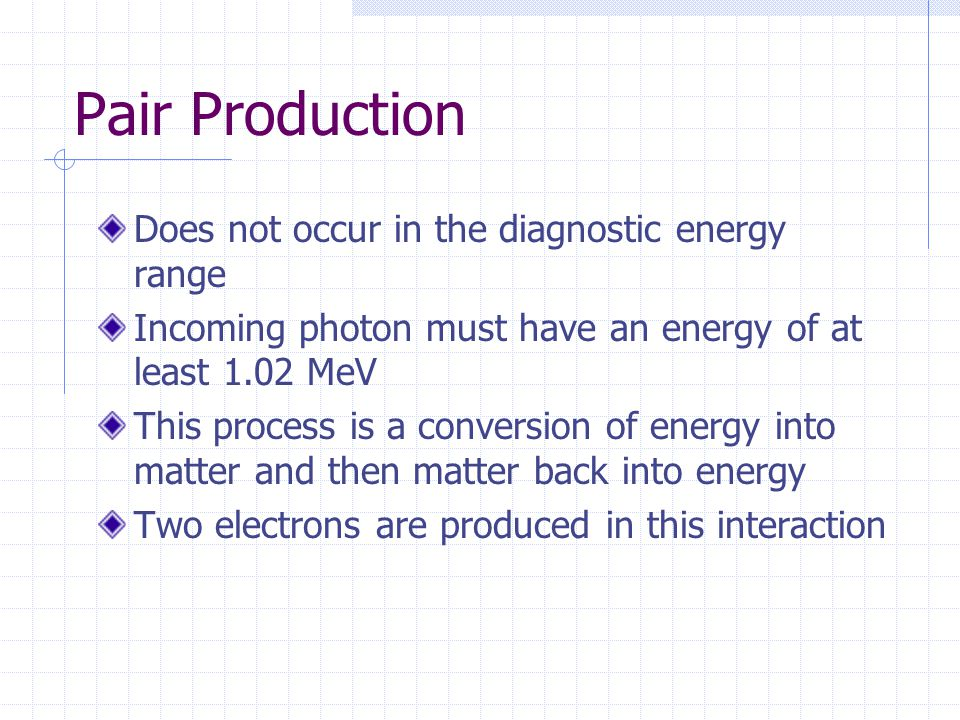 Pair Production Does not occur in the diagnostic energy range
