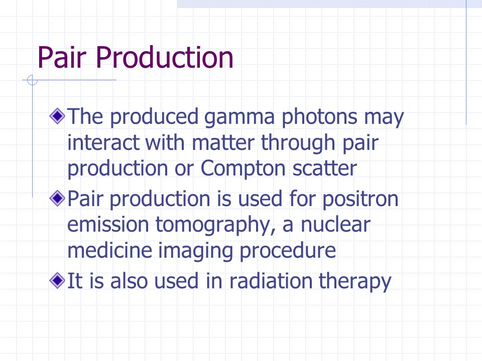 Pair Production The produced gamma photons may interact with matter through pair production or Compton scatter.