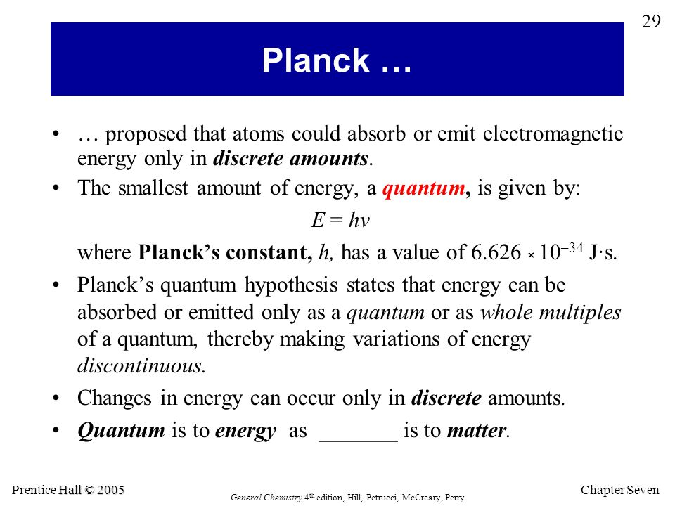 Planck … … proposed that atoms could absorb or emit electromagnetic energy only in discrete amounts.