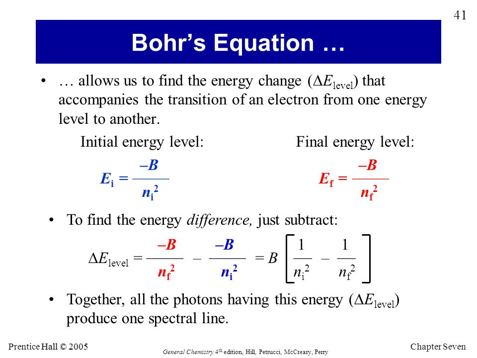 Bohr's Equation … ni2 nf2 nf2 ni2 ni2 nf2