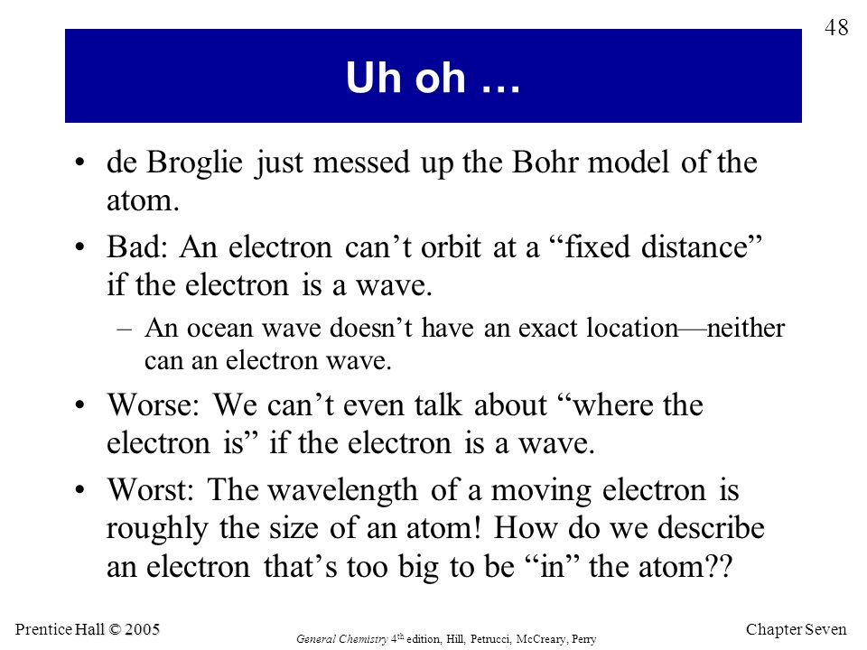 Uh oh … de Broglie just messed up the Bohr model of the atom.