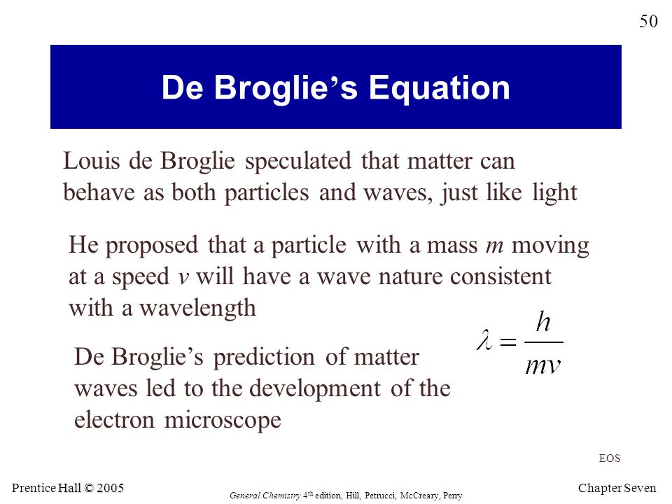 De Broglie's Equation Louis de Broglie speculated that matter can behave as both particles and waves, just like light.
