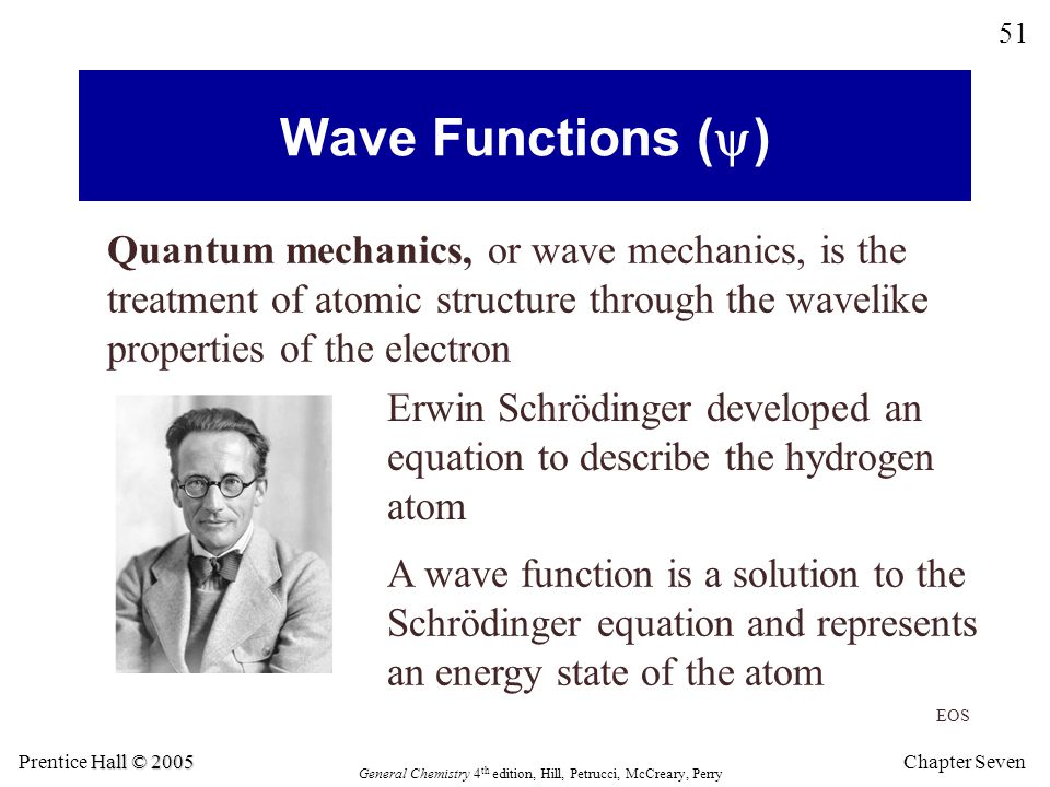 Wave Functions (y) Quantum mechanics, or wave mechanics, is the treatment of atomic structure through the wavelike properties of the electron.