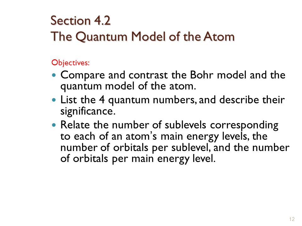 Section 4.2 The Quantum Model of the Atom