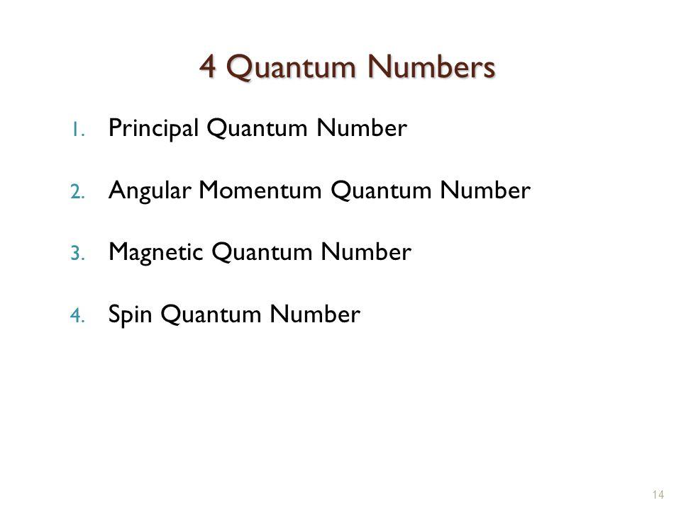 4 Quantum Numbers Principal Quantum Number