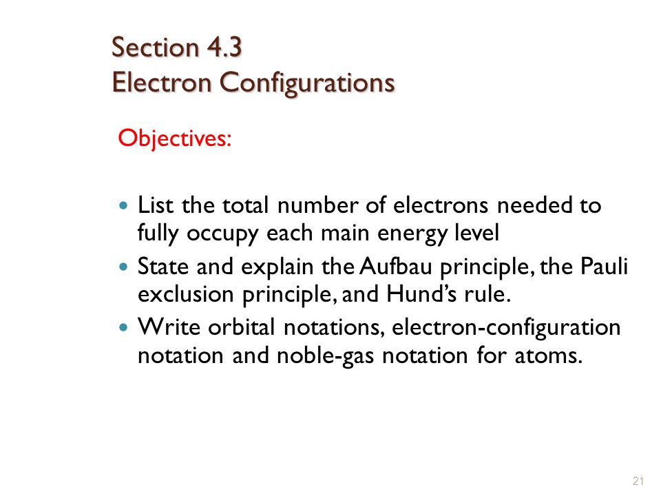 Section 4.3 Electron Configurations