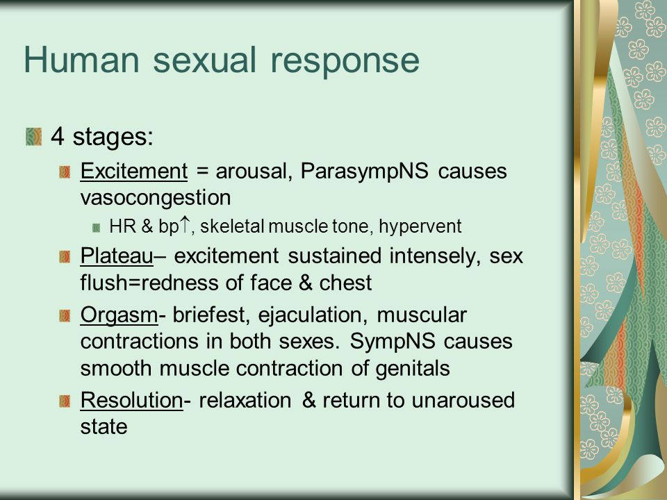 Human sexual response 4 stages: