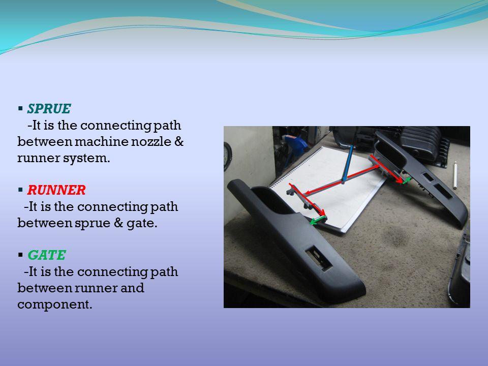 SPRUE -It is the connecting path between machine nozzle & runner system. RUNNER. -It is the connecting path between sprue & gate.