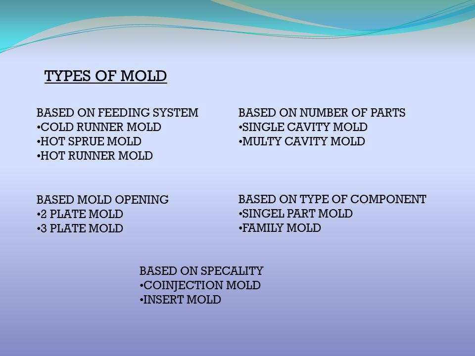TYPES OF MOLD BASED ON FEEDING SYSTEM COLD RUNNER MOLD HOT SPRUE MOLD