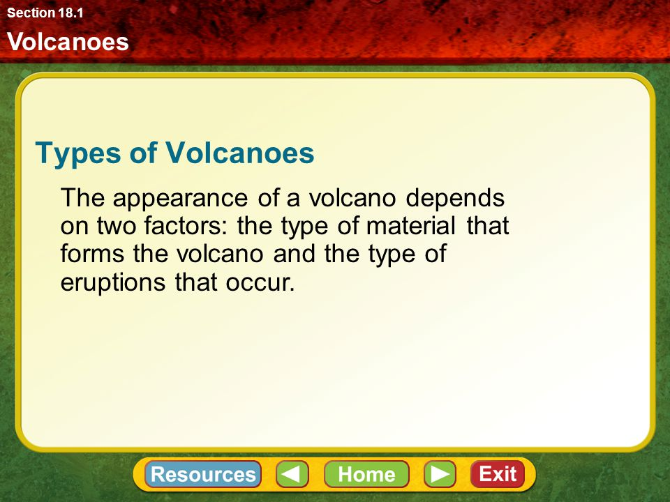Section 18.1 Volcanoes. Types of Volcanoes.