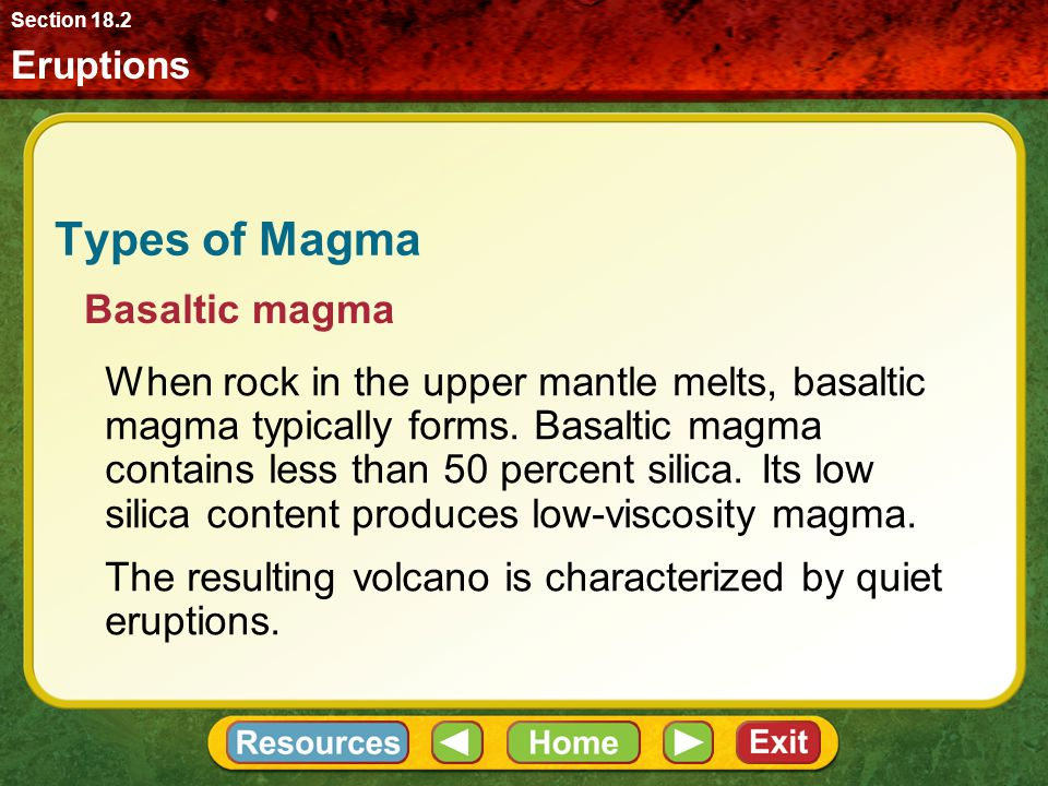 Types of Magma Basaltic magma