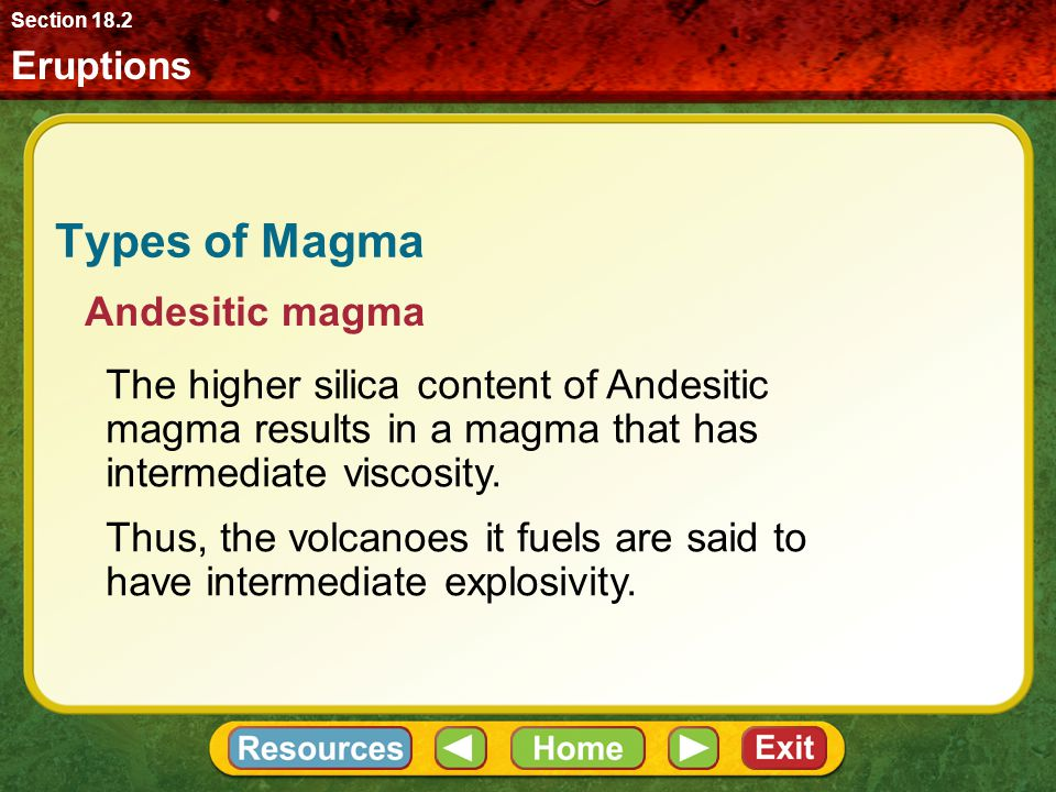 Types of Magma Andesitic magma