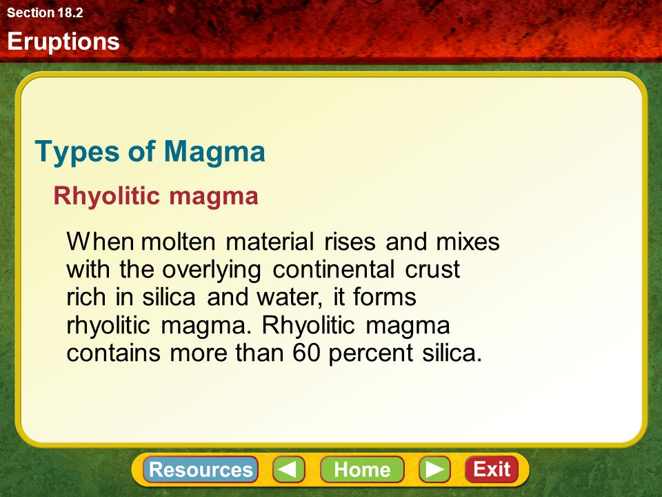 Types of Magma Rhyolitic magma