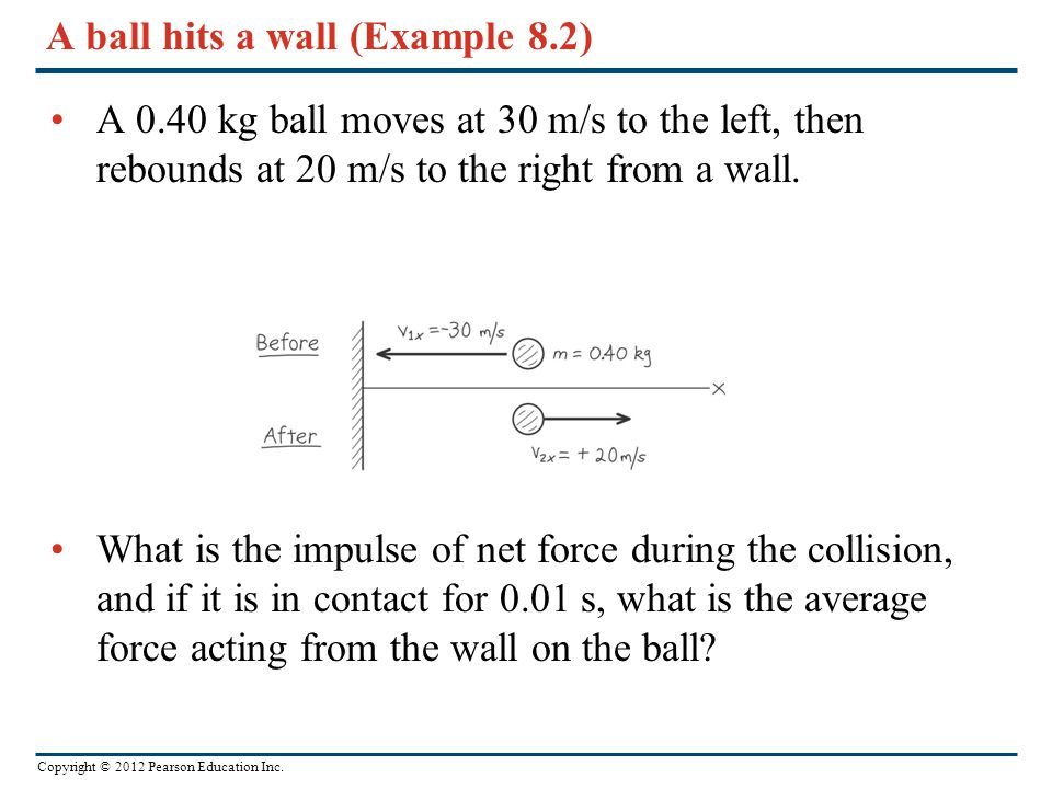 A ball hits a wall (Example 8.2)