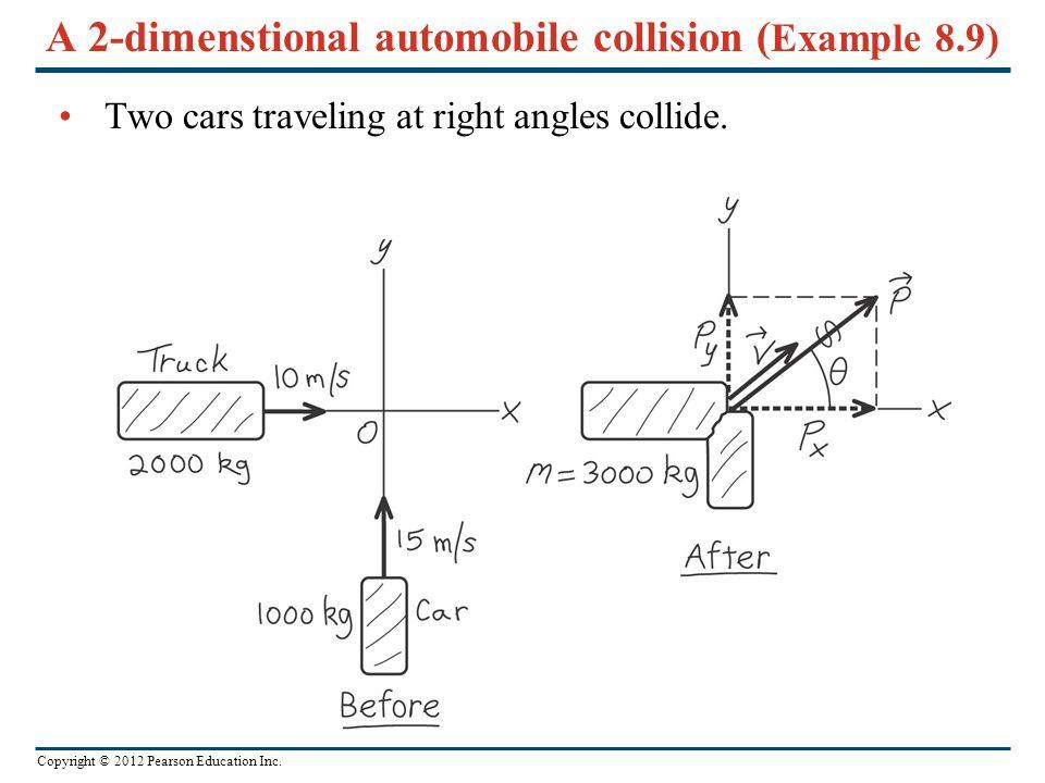 A 2-dimenstional automobile collision (Example 8.9)