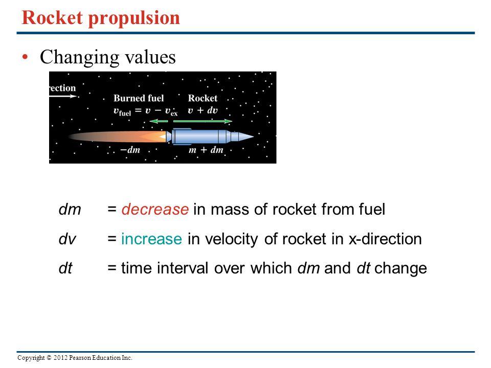 Rocket propulsion Changing values