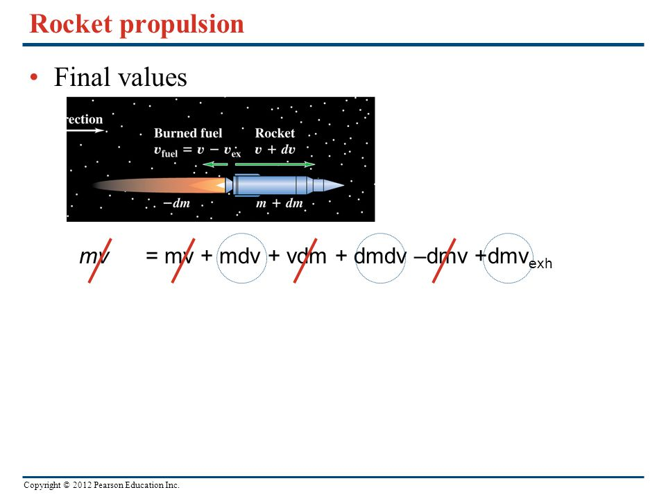 Rocket propulsion Final values mv = mv + mdv + vdm + dmdv –dmv +dmvexh