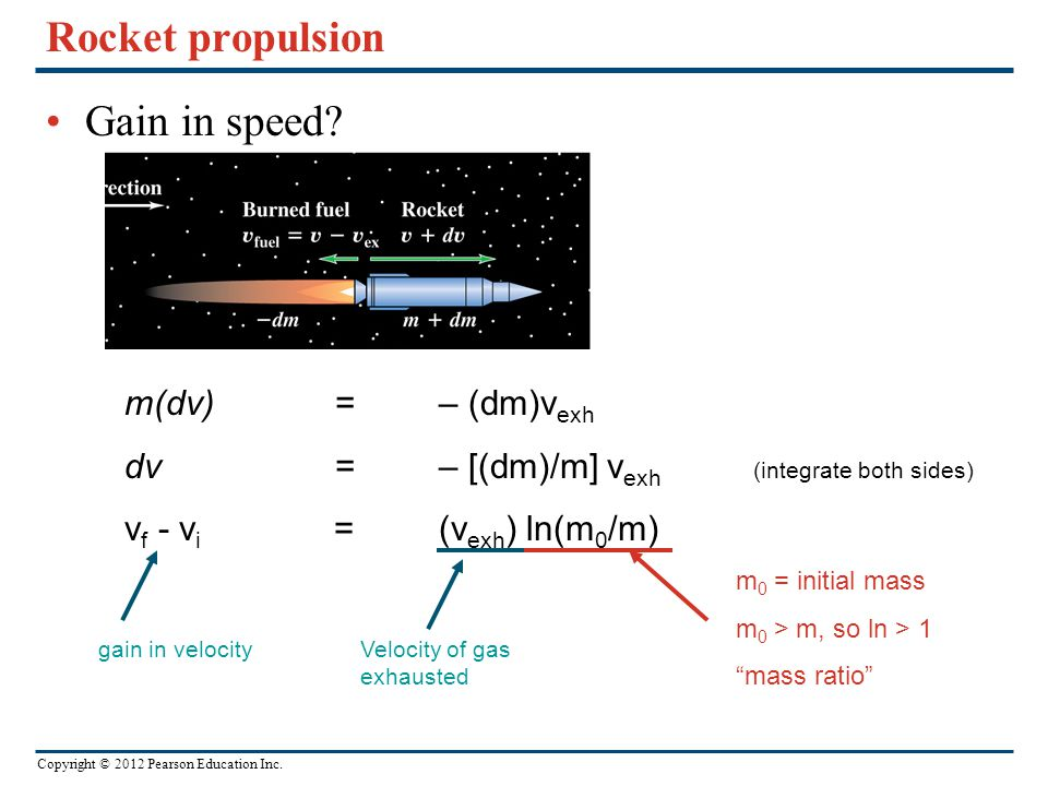 Rocket propulsion Gain in speed m(dv) = – (dm)vexh