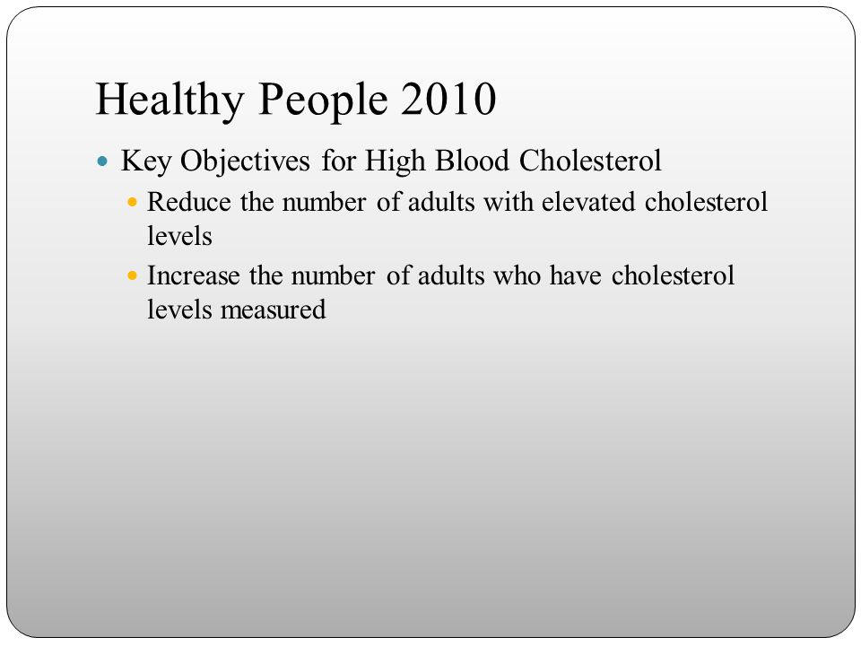 Healthy People 2010 Key Objectives for High Blood Cholesterol