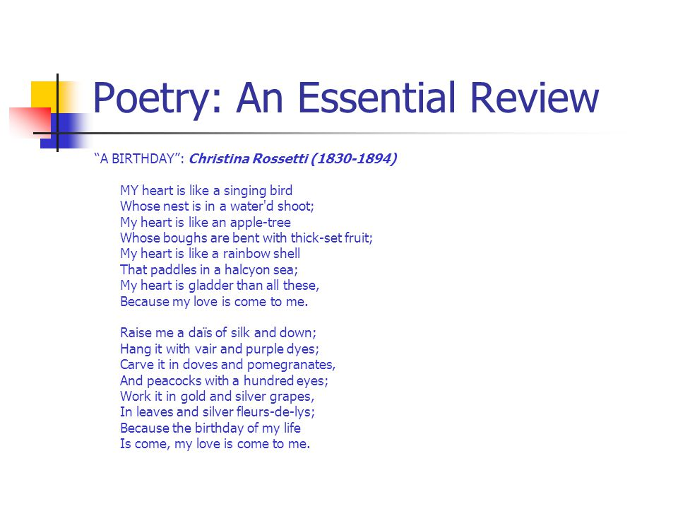 an analysis of the poem a birthday by christina rossetti