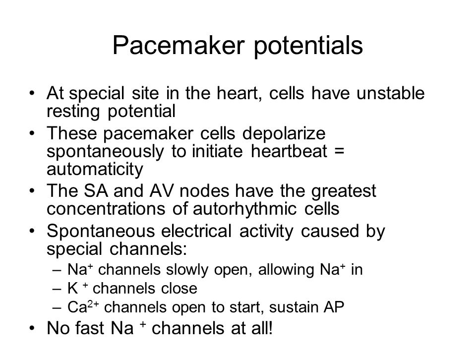 Pacemaker potentials At special site in the heart, cells have unstable resting potential.
