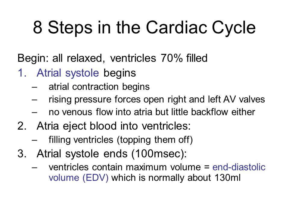 8 Steps in the Cardiac Cycle