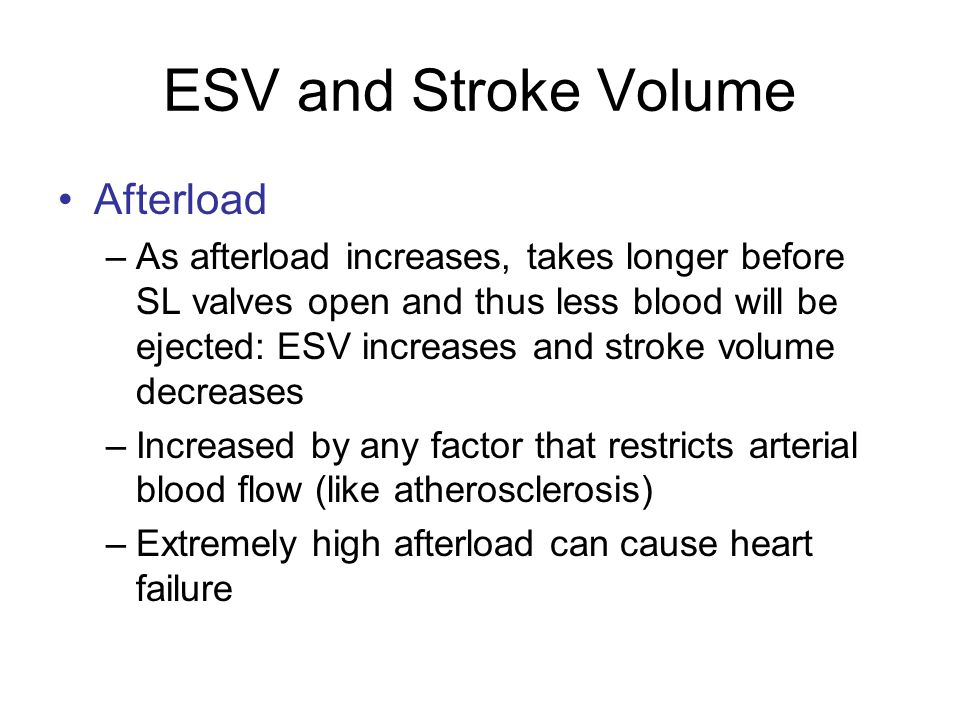 ESV and Stroke Volume Afterload