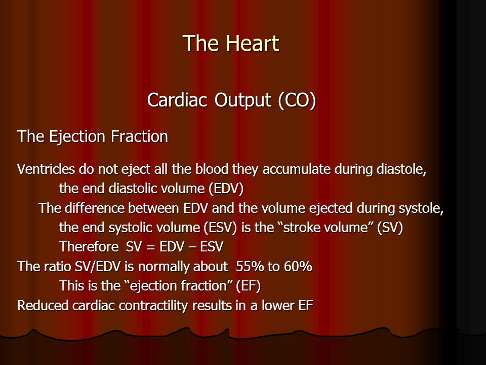 The Heart Cardiac Output (CO) The Ejection Fraction