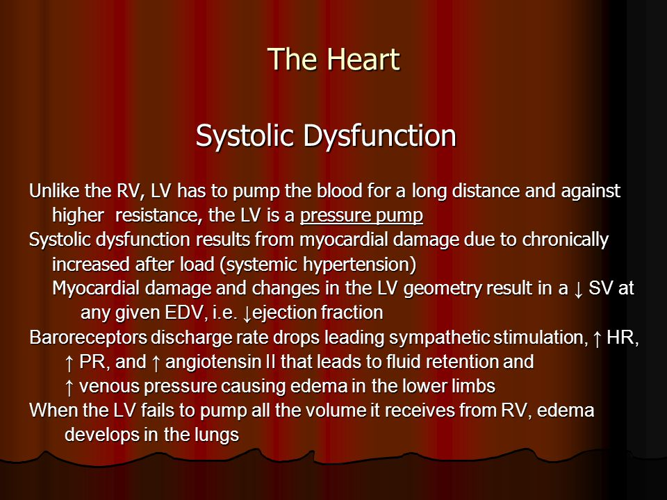 The Heart Systolic Dysfunction