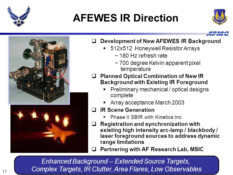 AFEWES IR Direction Enhanced Background -- Extended Source Targets,
