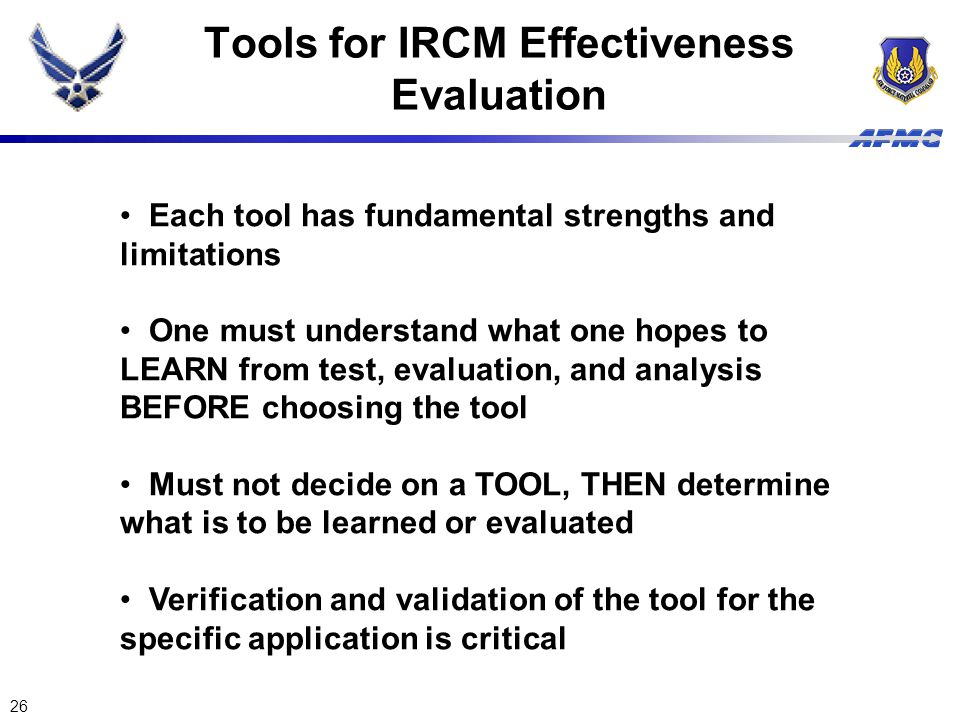 Tools for IRCM Effectiveness Evaluation