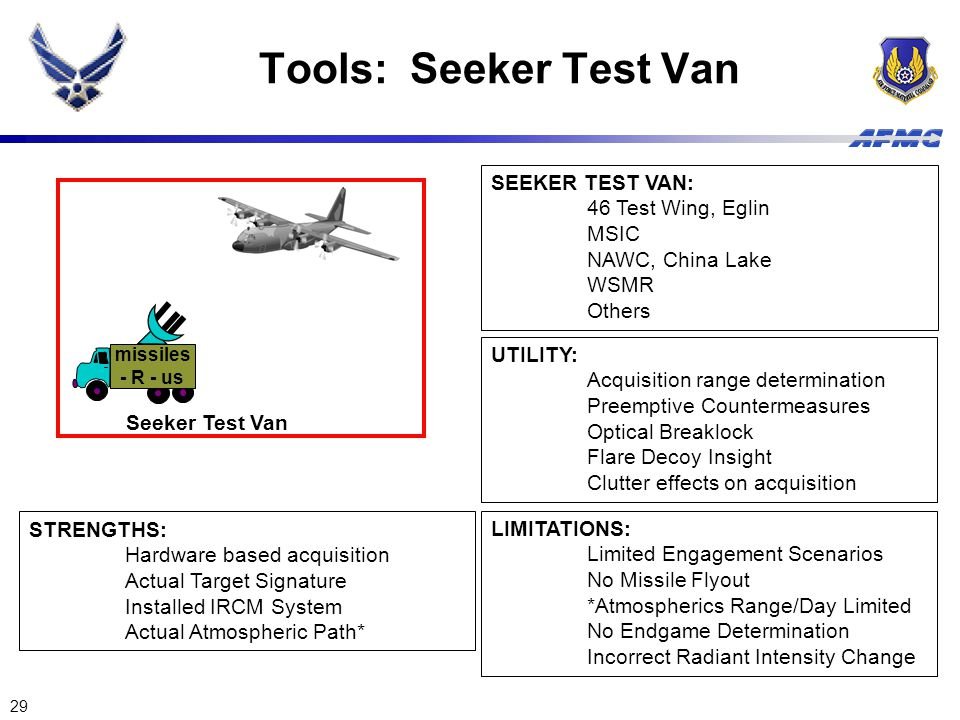 Tools: Seeker Test Van SEEKER TEST VAN: 46 Test Wing, Eglin MSIC
