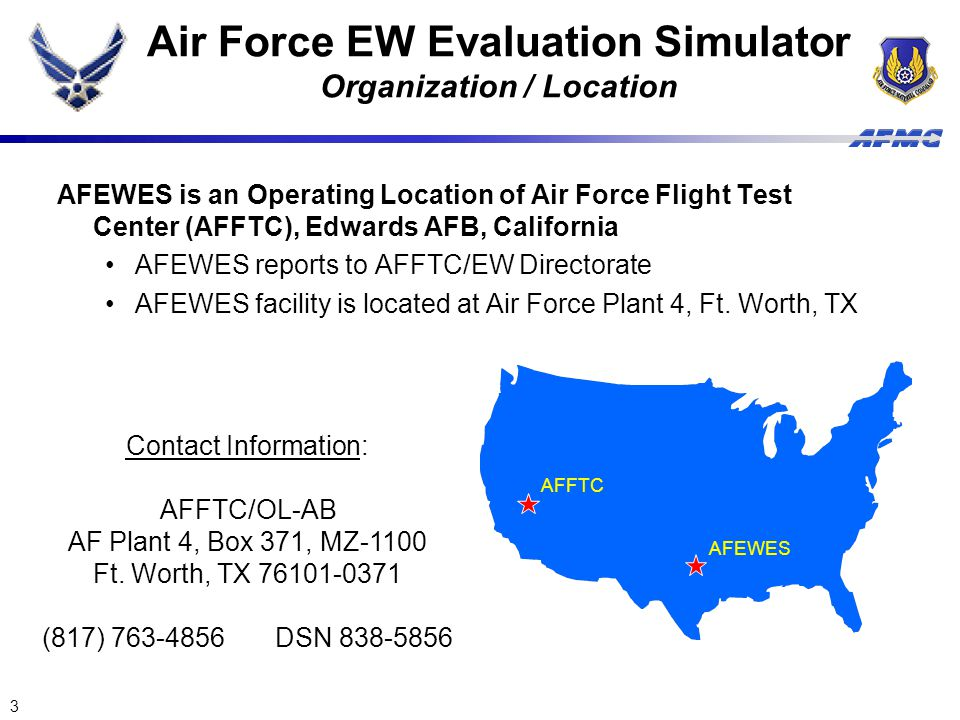 Air Force EW Evaluation Simulator Organization / Location