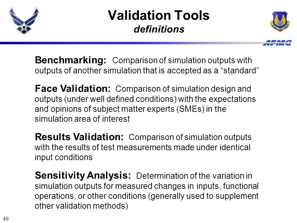 Validation Tools definitions