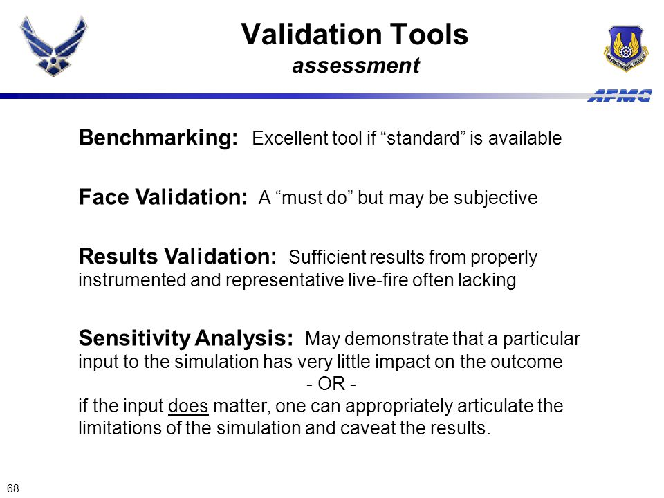 Validation Tools assessment