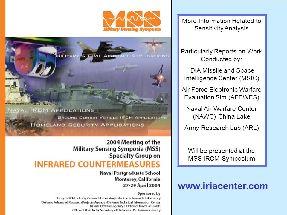 www.iriacenter.com More Information Related to Sensitivity Analysis