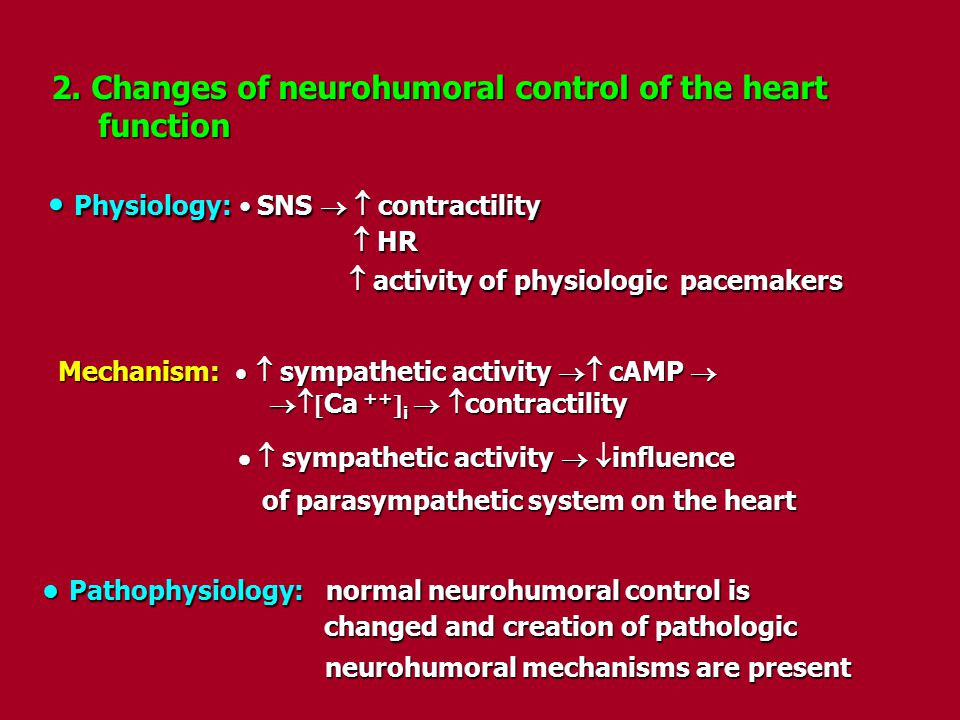 Physiology: • SNS   contractility