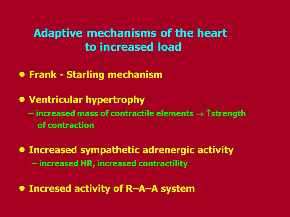 Adaptive mechanisms of the heart