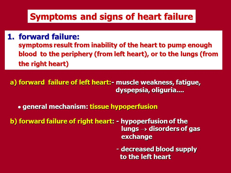 Symptoms and signs of heart failure