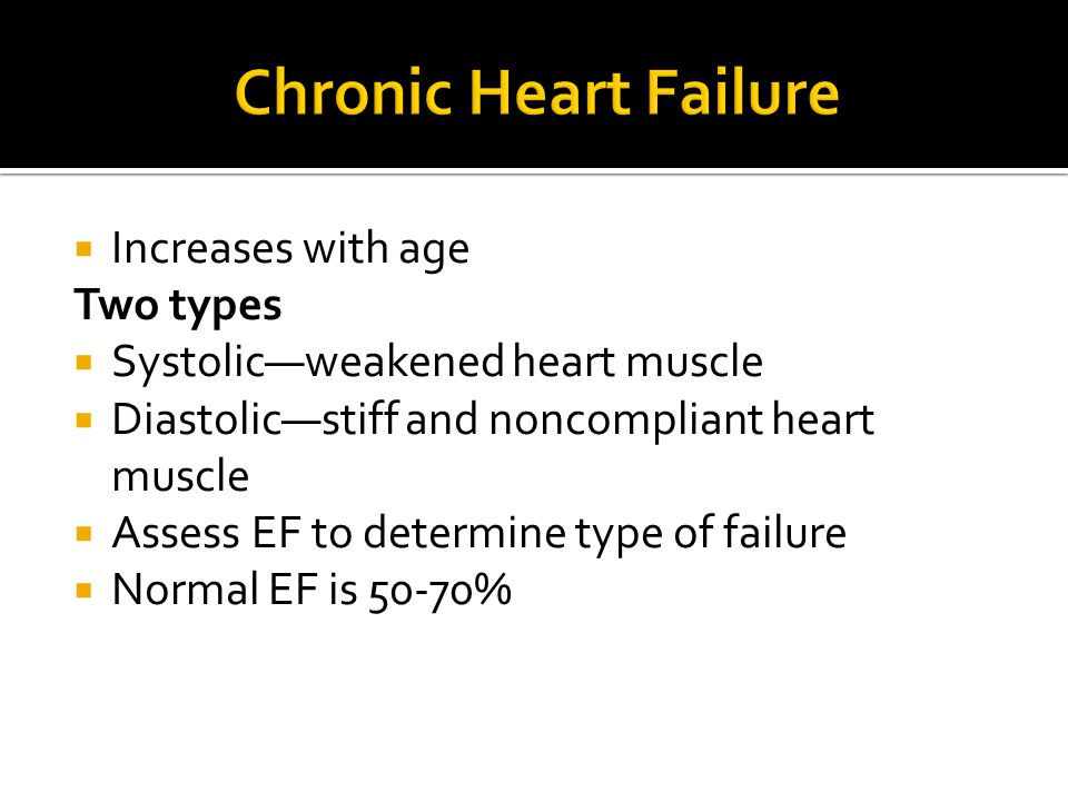 Chronic Heart Failure Increases with age Two types