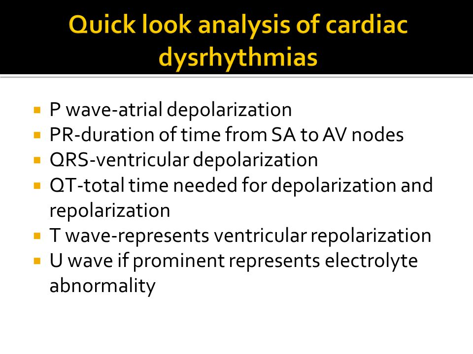 Quick look analysis of cardiac dysrhythmias