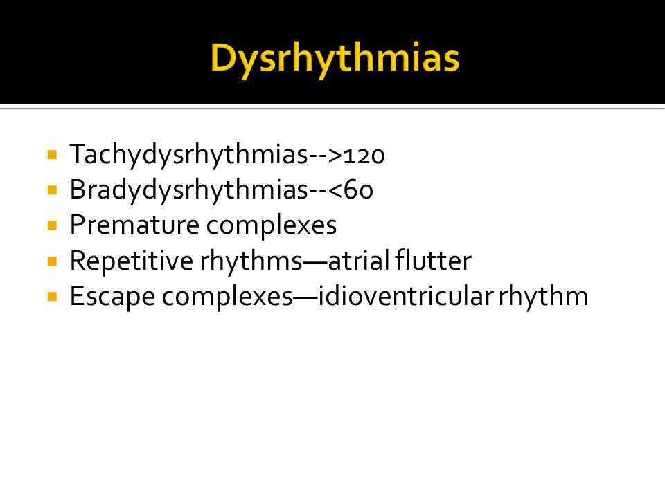 Dysrhythmias Tachydysrhythmias-->120 Bradydysrhythmias--<60
